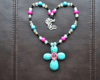 Turquoise and Pink Cross Pendant Necklace