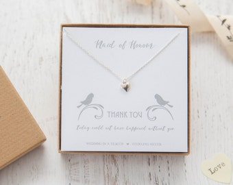 Thank You - Heart Sterling Silver Necklace