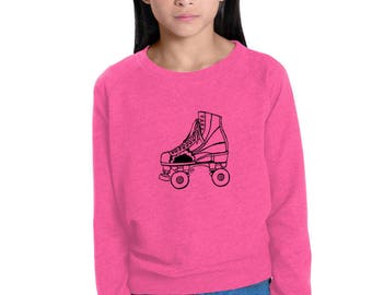 Roller Skate Sweatshirt For Girls, Junior Roller Derby, Bowl Skating, Roller Rink, Hot Pink, French Terry, Cozy Clothing, Derby Girl Gift