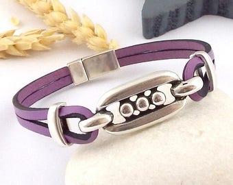 kit tutoriel bracelet cuir mauve homme ou femme ethnique motifs argent
