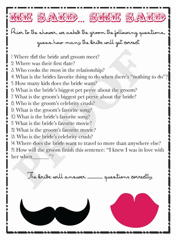 Bridal Shower Game He Said She Questions Printable For Couples Mustache And Lips