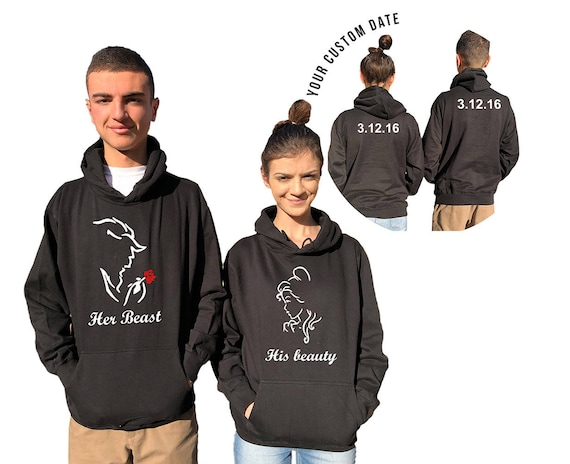 Her Beast His Beauty couple hoodies, personalized Back custom Dates, Anniversary gift , wedding gift matching hoodie Matching