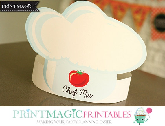Pizza Party Hat Chef Hat Printable Party Hat Birthday