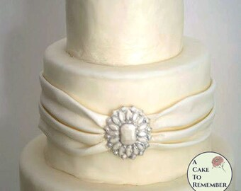Rectangular DIY wedding cakes edible brooch, cake brooch, edible diamonds, edible jewels, edible cake jewels,  sugar gems, gumpaste brooch