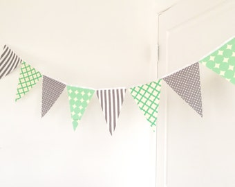 Fabric Banner Bunting, Garland Fabric Pennant Flags, Mint, Grey, Gray Wedding Decor, Photo Prop, Baby Nursery Decor, Birthday Party Garland