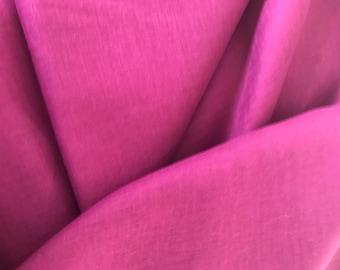 Bright pink pure 100% linen fabric fuchsia cyclamen bright pink organic Eco friendly to cloth making
