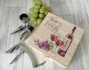 Wooden wine box set - printed gift set - wine lovers - bottle opener set - wooden gift set - wedding set - wine bottle set