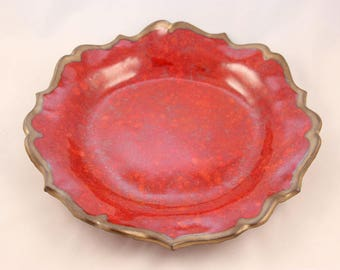 Stoneware Clay Pottery Bavarian Serving Bowl, Handmade, Red and Bronze