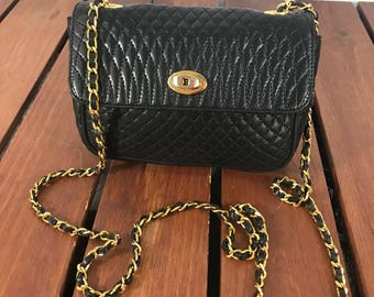 BALLY Authentic Vintage Quilted Black Leather Chain Link Crossbody Shoulder Bag Made in Italy