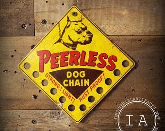 Vintage Peerless Dog Chains Tin Advertising Sign Store Display