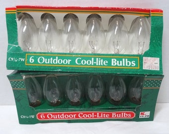 2 Packages of 6, 1980s Trim A Home Replacement Christmas Bulbs in CLEAR, Original Package, Outdoor, Intermediate Base, C9, Decor, Kmart