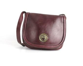 Vintage 1970s Etienne Aigner Leather Handbag | Classic Handmade Aigner Leather Purse | Oxblood Leather Shoulder Bag