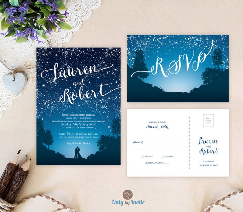 starry wedding invitations and rsvp cards mountain