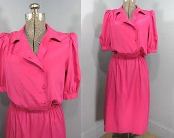 Vintage Fuschia shirt dress, 80s Dress, Shirt Dress, Fuschia, Asymmetrical, Elastic Waist, Puff Shoulders, Short Sleeves, Size Sm, Size Med
