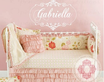 Baby Girl Name Wall Decal - Girl or Boy Baby or Teen Personalized Name Monogram Vinyl Wall Decal with Shabby Chic Accents FN0517