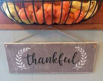 Thankful hand painted sign with leaf border