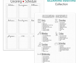 INSTANT DOWNLOAD: Cleaning Routine - 8 Sheets - PDF