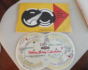 Cincinnati Milling Calculator vintage 1955  milling set up