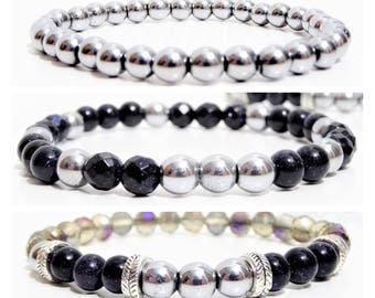 Create your jewelry - accessories-Bracelets - Hematite, Sandstone beads and Crystal - dark blue and silver Bracelet