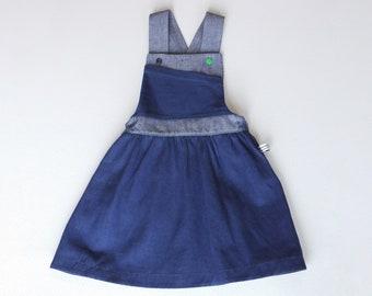 Girls Organic Denim Pinafore Dress/ Girls Dungaree Dress/ Denim Dress/ Jean Dress/ Girls Pinafore/ Toddlers Pinafore/ Girls Dress/ Pinafore
