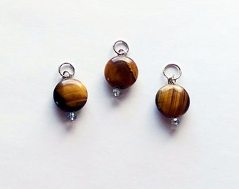 Tiger Eye Gemstones, Collar Charms, Healing Reiki Infused, For Cat Collars and Dog Collars