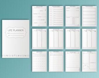 Life Planner Printable Black and White KIT PDF A4 Binder Goals and Project Organizer Daily Weekly Monthly Household Binder Instant Download