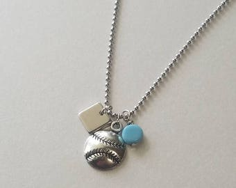 Baseball Necklace with Players Number and Team Colors