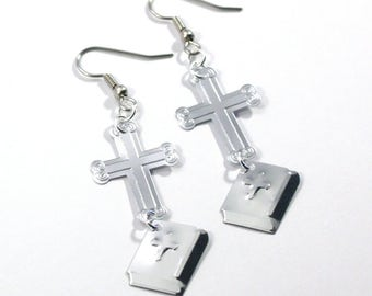 Religious Earrings Silver Crosses & Bibles Dangle Plastic Sequin Jewelry