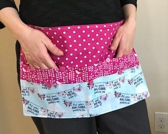 Craft apron, teacher apron, half apron, vendor apron, big girl panties, pink apron