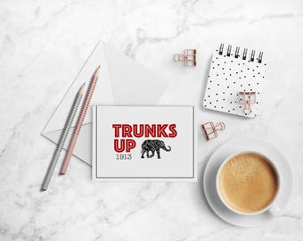Trunks Up Note Card Set, Delta Sigma Theta Sorority-inspired A2 Red, Black and White Folded Cards
