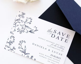 Badelia Elegant Save the Date Cards, Printable Files or Printed Cards, Navy and Silver Save the Date Cards, Custom Made Colours and Sizes
