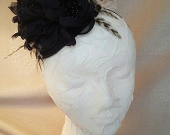 Black Handmade Flower Headband Fascinator