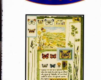 Kit include DMC linen cross stitch 30 x 40 cm Sampler butterflies
