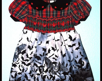 Girls Rockabilly Gothic Dress in Red Plaid and Bats ........Size 4