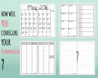 Letter Size Midori Printable Inserts - PlannerGrid: unique grid system for different layouts. Month! Week! Year! 2016! 2017! 2018!
