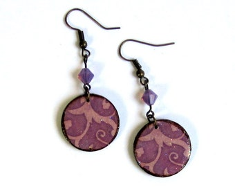 Purple Crystal Decoupaged Earrings Lightweight Circle Dangle Summer Jewelry Gifts for Her