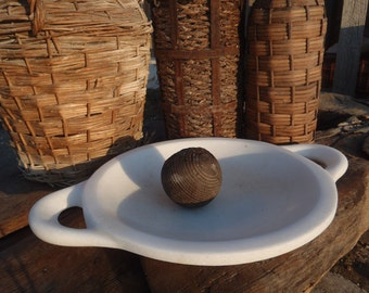 Hand Carved Archaic Marble Platter