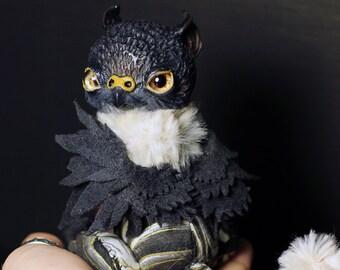 Storm Griffin OOAK posable doll gift spirit fantasy creature fairy cute art craft kawaii soul animal magic cat lion kitty wings eagle owl