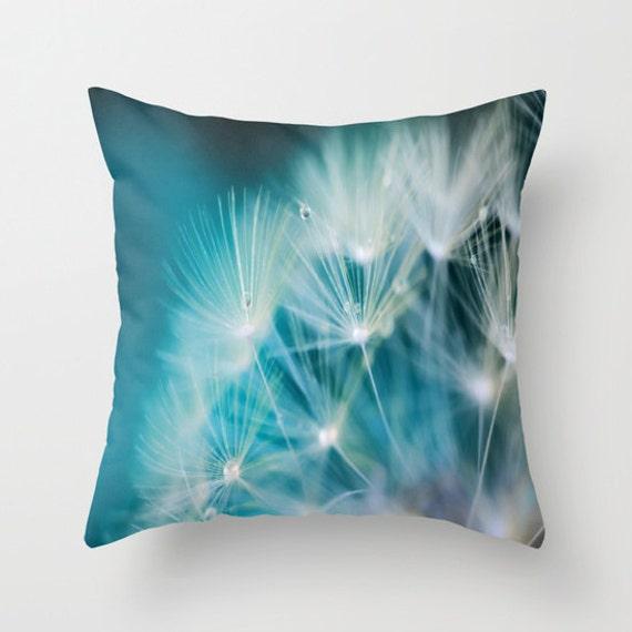 Raindrops On Dandelion Sea Blue Throw Pillow, 14x14, 16x16, 18x18, 20x20, Make a Wish Decorative, Dorm, Nature Cushion, Wedding Gift, Dew