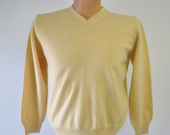 vintage yellow Valda made in Italy by Toscano merino wool sweater