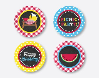 "Instant Download, Picnic Cupcake Toppers, Picnic Party Circles, 2"" circles, Picnic Gift Tags, Picnic Thank You Tags, Chalkboard (CKB.121)"