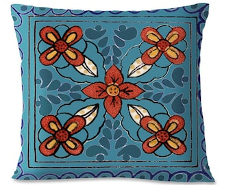 TALAVERA TILE  Pillow Cover - Turquoise - Mexican - Southwest - 16x16 - European Linen backing