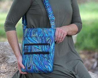 blue cross body bag - zipper purse - fabric bag - crossbody hipster bag - shoulder bag - zipper closure - everyday bag - palazzo boho bag
