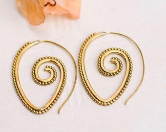 Gifts Under 25, Spiral Earrings, Fake Gauge Earrings, Brass Earrings, Gift For Mom, Gifts for Mom, Gypsy Earrings, Gypsy Jewellery, BohoChic