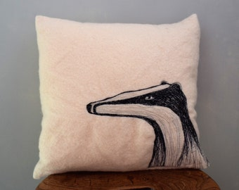 Badger cushion facing west