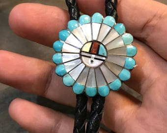 Vintage Native American handmade necklace, Hopi Sterling silver Zuni Sunbonnet, with mother of pearl and turquoise inlay pendant.  leather w