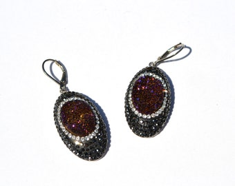 Dark Red- purple Druzy Swarovski Crystal Earrings