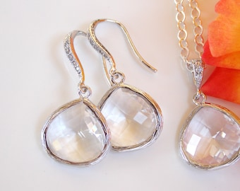 Wedding Jewelry, Clear Earrings and Neklace, Sterling Silver, Crystal, Cubic Zirconia, Pendant, Bridesmaid Earrings, Bridesmaids Gifts, Set