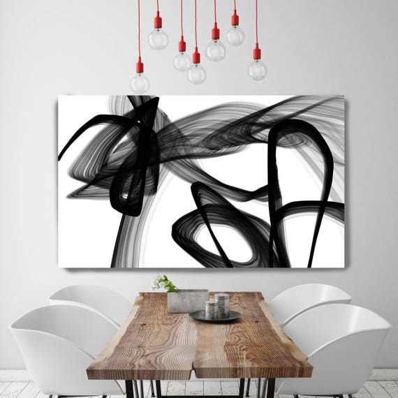 """Abstract Poetry in Black and White 110, Black and white wall art, Large Contemporary Canvas Art Print up to 72"""" by Irena Orlov"""