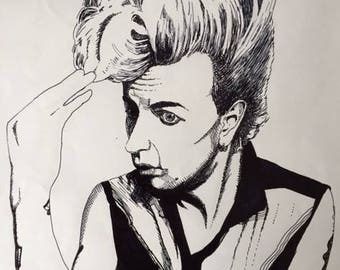 black and white portrait of Brian Setzer (Stray Cats), hand drawn, illustration, line drawing